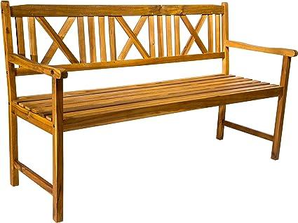 Sam 3 Sitzer Gartenbank Mykonos Akazien Holz Geolt Holzbank Massives Garten Balkonmobel Amazon De Garten