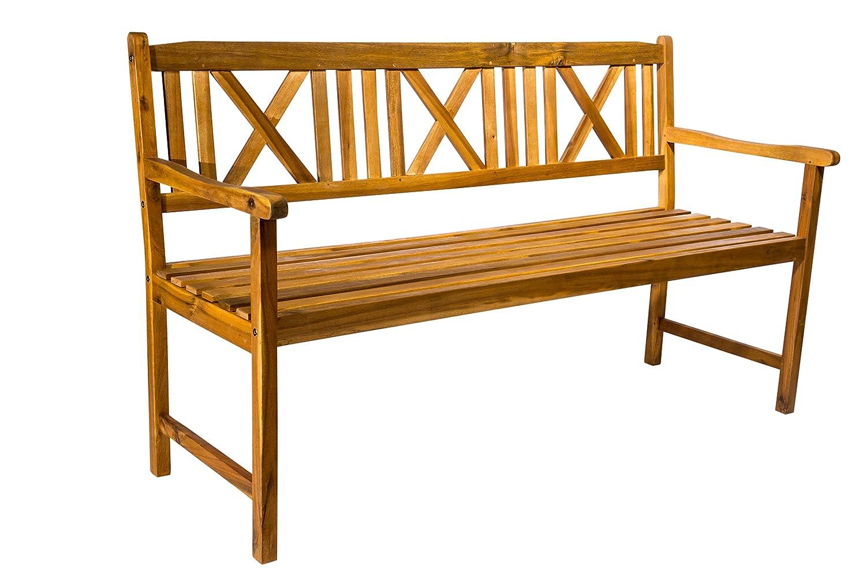SAM 3-Sitzer Gartenbank Mykonos Holzbank 151 cm, Gartenmöbel für Terrasse & Balkon, Akazie-Holz massiv & geölt, FSC 100% Zertifiziert