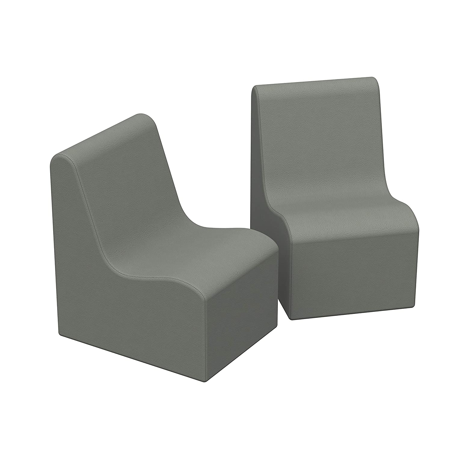 FDP SoftScape Wave Preschool Chair Seating Set, Children's Soft Supportive Foam Furniture for Home, Kid's Playroom, Bedroom, Classroom, Waiting Areas - Gray (2-Pack)