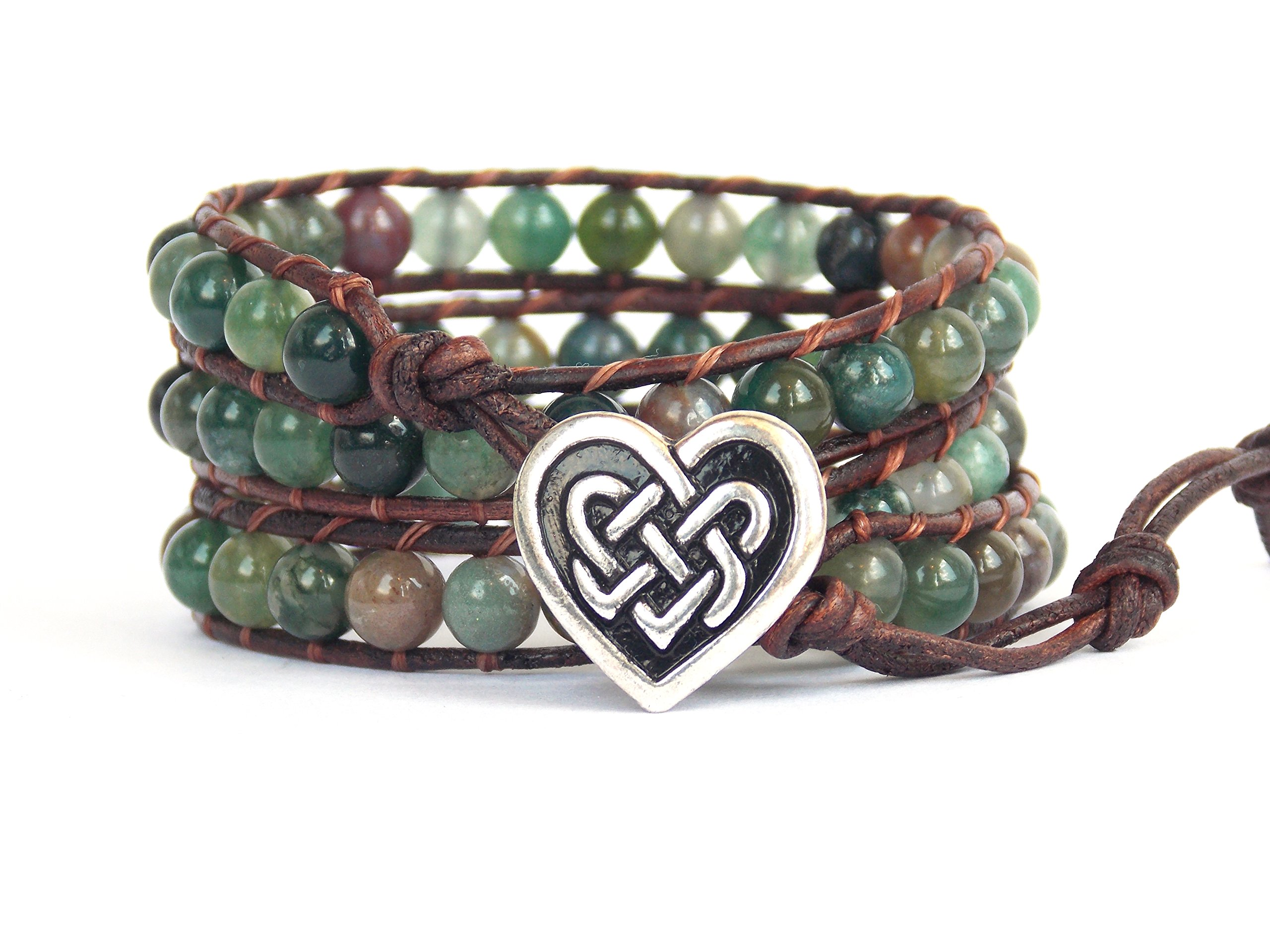 Celtic Knot Bracelet with Heart Button Leather Indian Agate Beaded Wrap
