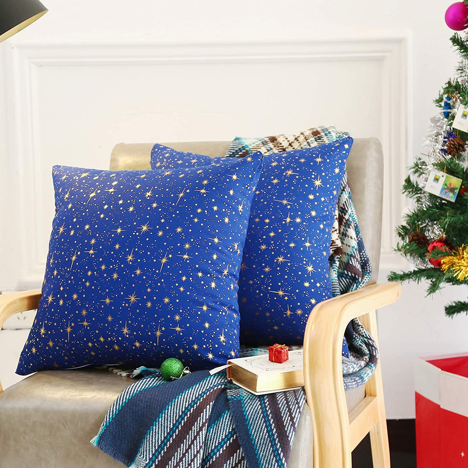 """Tosewever Set of 2 Christmas Linen Throw Pillow Covers 18 x 18 Inches, Xmas Holiday Square Throw Pillows Case for Sofa Couch Bed Outdoor Home Decorations (18"""" x 18"""", Golden/Blue Star)"""