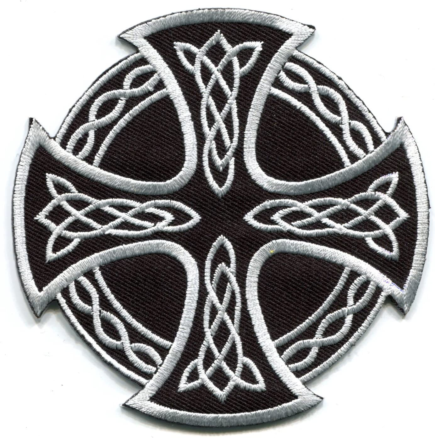 Celtic Cross Vikings Embroidered Iron On Patch Cross Sew On Badge Applique