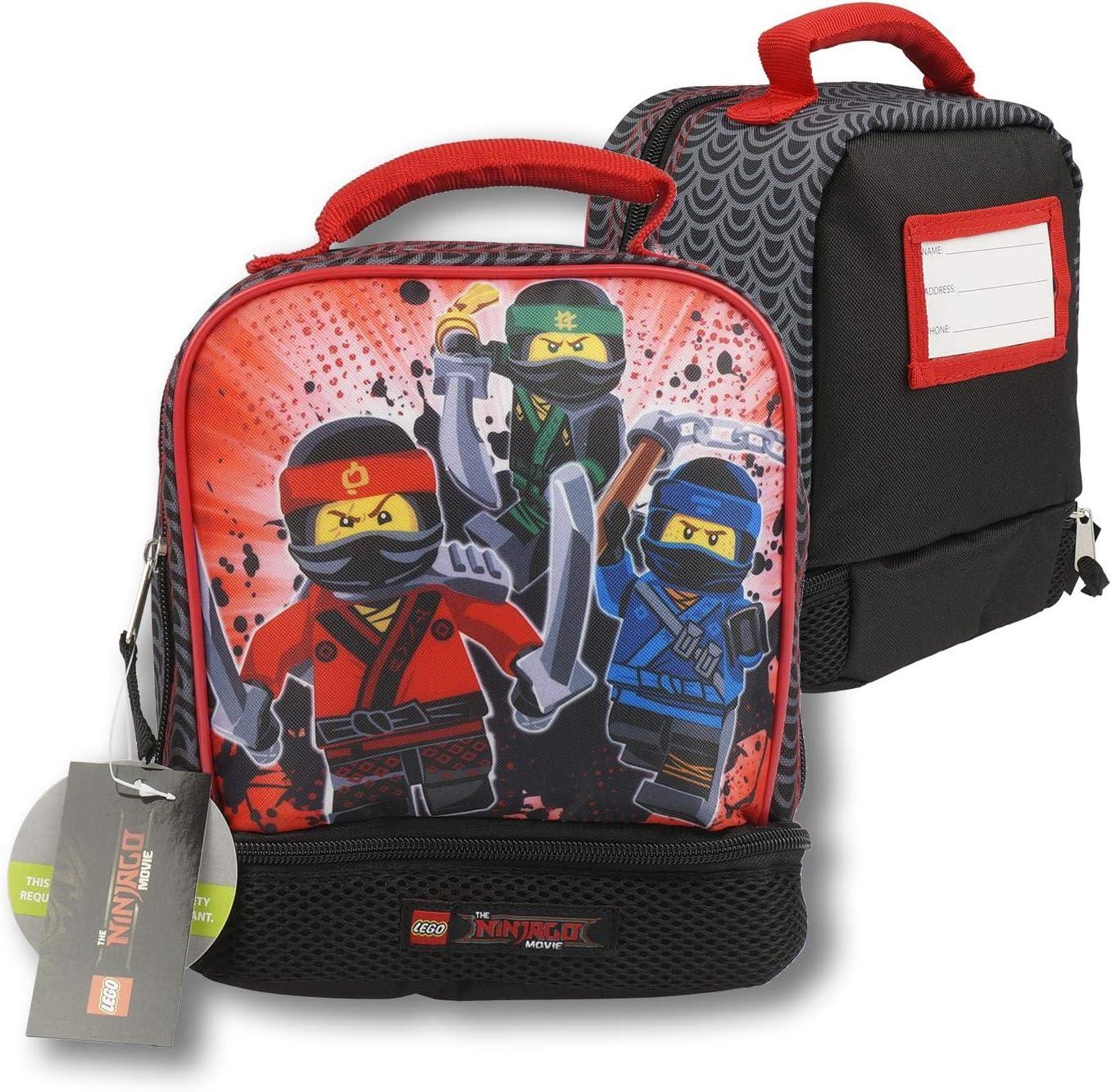LEGO 34902 The Ninjago Movie Three Ninja Dual Compartment Lunch Bag, Multicolor
