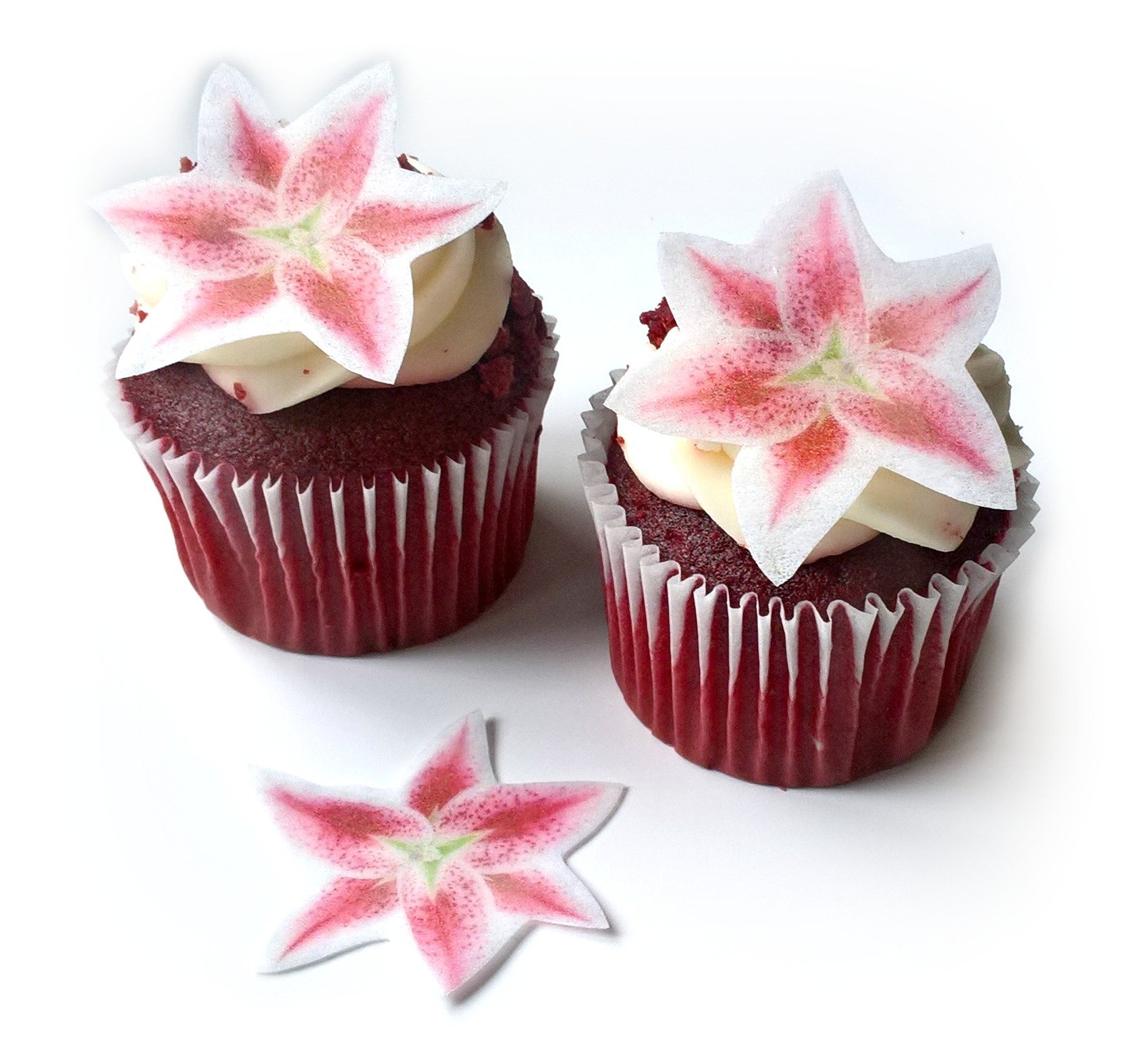 24 Stargazer Lily Flower Flat Edible Wafer Paper Flowers Very Small 1.5'' Flower Cake Cupcake Toppers Decoration