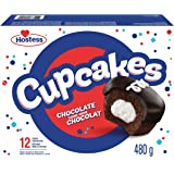 Hostess Chocolate Flavour Cupcakes with Decadent Chocolatey Frosting and Creamy Filling, Cake Snacks, Contains 12 cakes (6 pa