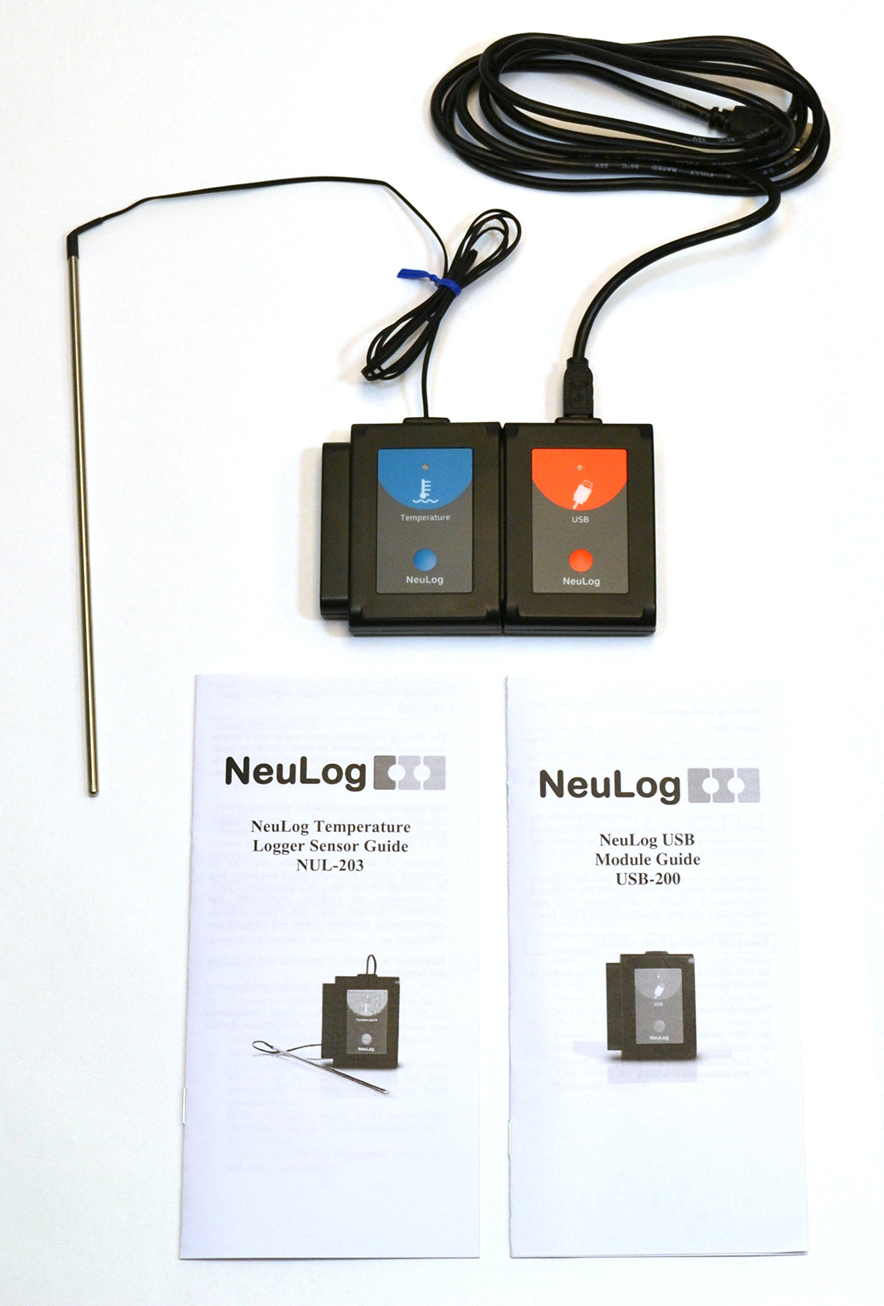 USB TEMPERATURE SENSOR - All connection devices included, software free for download, works with PC or MAC by NEULOG (Image #1)