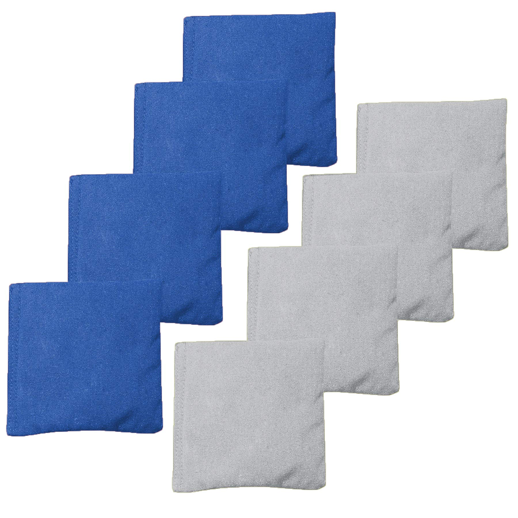 All Weather Cornhole Bean Bags Set of 8 - Duck Cloth, Regulation Size & Weight - Gray & Royal Blue