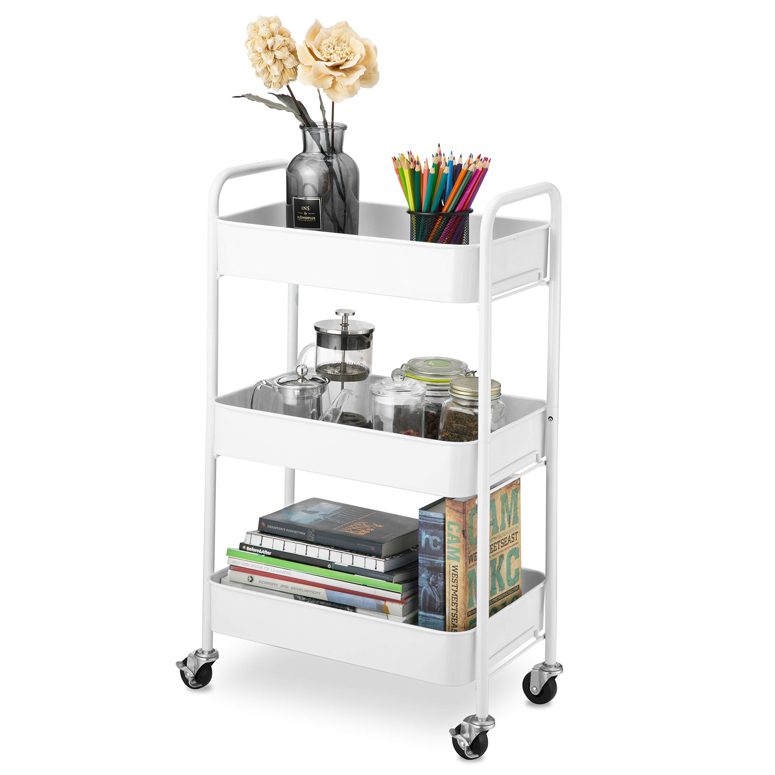 CAXXA 3-Tier Rolling Metal Storage Organizer - Mobile Utility Cart with Caster Wheels, White by CAXXA