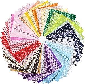 Konsait 56 Pieces 10 x 10 Inch Multi-Color Fabric Patchwork Cotton Mixed Squares Bundle Sewing Quilting Craft, Craft Fabric Bundle Squares Patchwork DIY Sewing Scrapbooking Quilting Dot Stripe