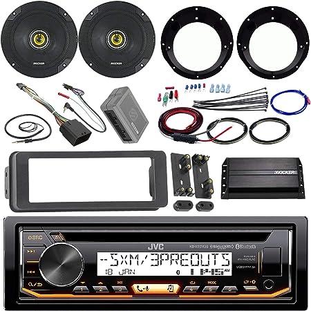 JVC KDR99MBS Stereo CD Receiver Bundle 2 Kicker 6.5 Speaker Motorcycle Speaker Adapters 200 Watt Amplifier Amp Wiring Kit Dash Trim Kit 98-13 Harley Handle Bar Conroller Enrock Antenna