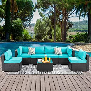 ALLME Fashion 7pcs Patio Outdoor Furniture Sets with Tea Table&Washable Couch Cushions,Low Back All-Weather Rattan Sectional Sofa Chair (c2)