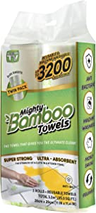 Mighty Bamboo Towels - Super Strong, Ultra Absorbent, Reusable Bamboo Cloth (Paper Towel Alternative) (2)