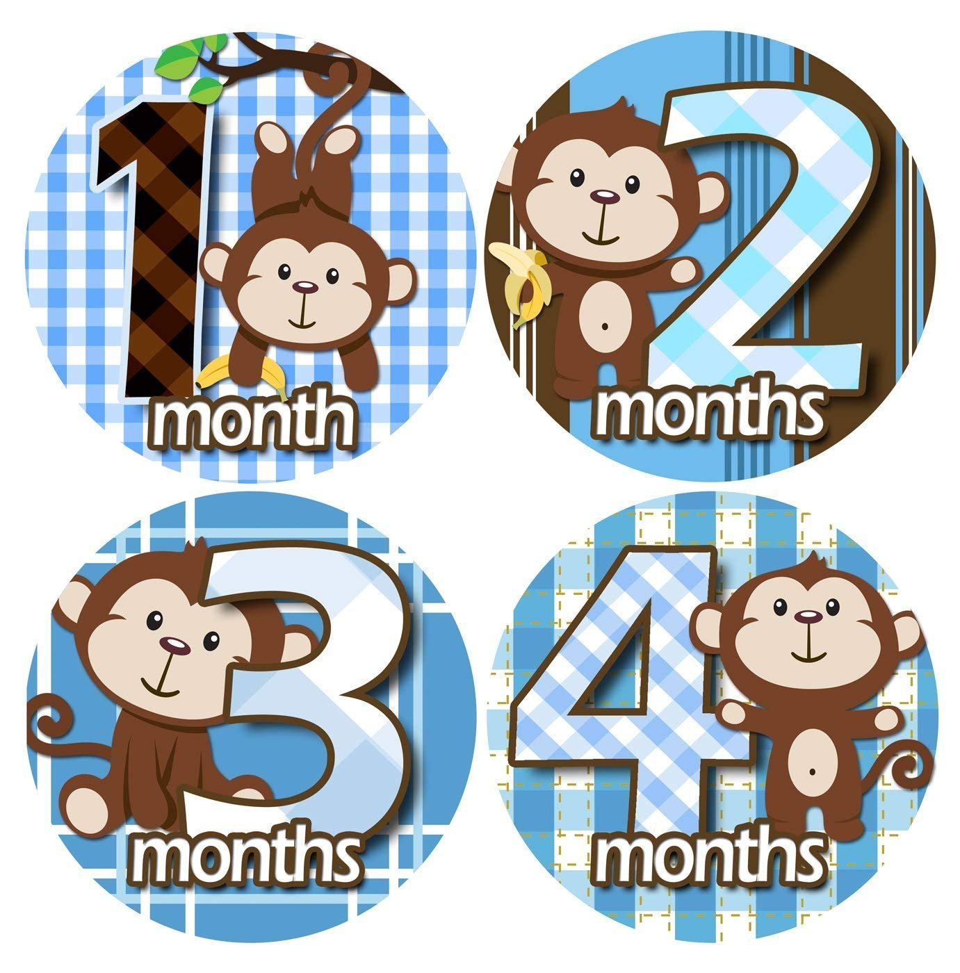BOY MONKEY CUDDLES 1-12 Month Baby Monthly One Piece Stickers Baby Shower Gift Photo Shower Stickers EasySells