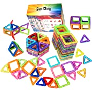 Sun Cling Triangle Construction Magnetic Blocks Building Set Educational Toys Magnetic Tiles for Toddlers Kids Children BPA FREE 56 Piece