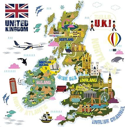 Cartina Inghilterra Per Bambini.Homeevolution Grandi Bambini Educativi Regno Unito Mappa Del Mondo Adesivi Da Parete Adesivi Peel And Stick Decor Art Per Bambini Per Bambini Camera Da Letto Amazon It Prima Infanzia