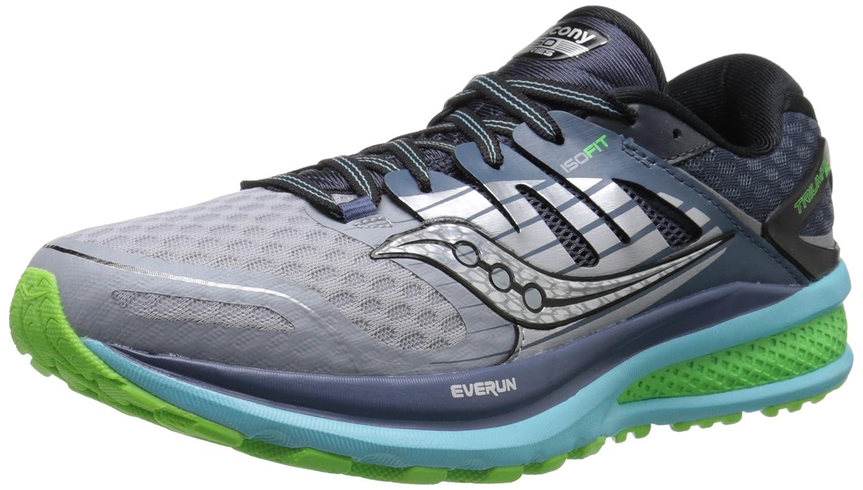 Saucony Women's Triumph ISO 2 Running Shoe B00YBDCFPA 6.5 W US|Grey/Blue/Slime