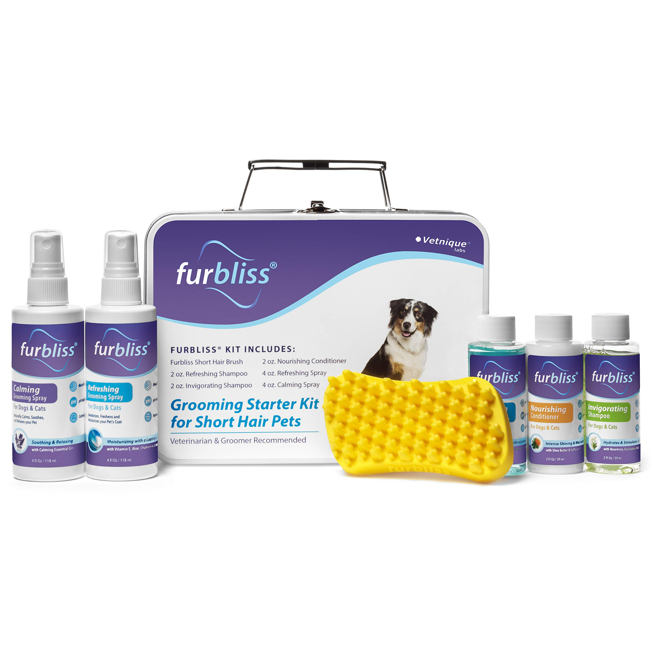 Furbliss Grooming Kit for Dogs, Cats and Pets with Short Hair - Cat/Dog Shampoo, Cat/Dog Conditioner, Cologne Sprays and The Brush Included