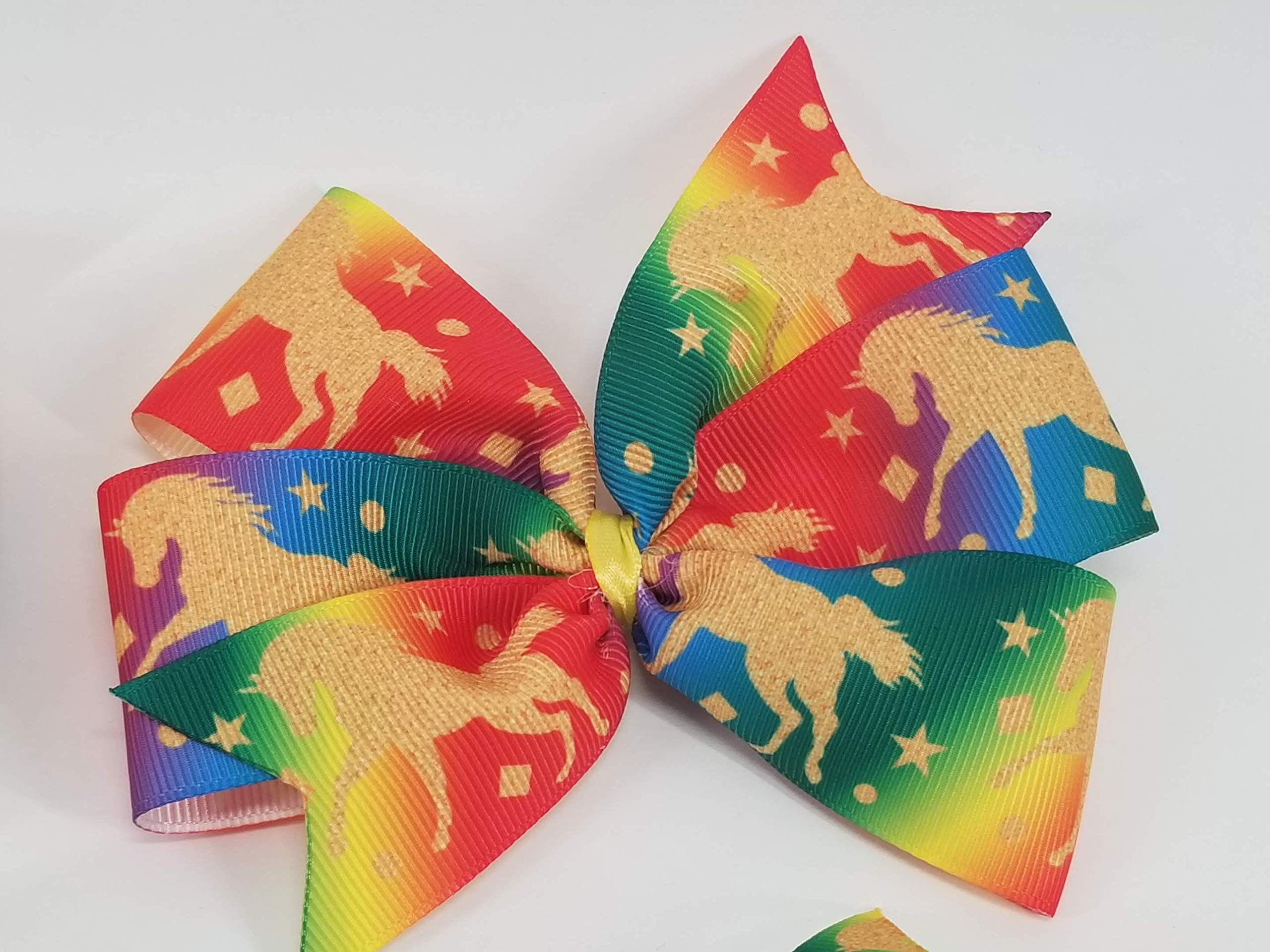 Rainbow Unicorns Hair Bow 5