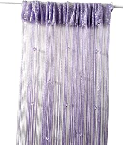 Eve Split Decorative Door String Curtain Wall Panel Fringe Window Room Divider Blind for Wedding Coffee House Restaurant Parts Crystal Tassel Screen Home Decoration(Purple)