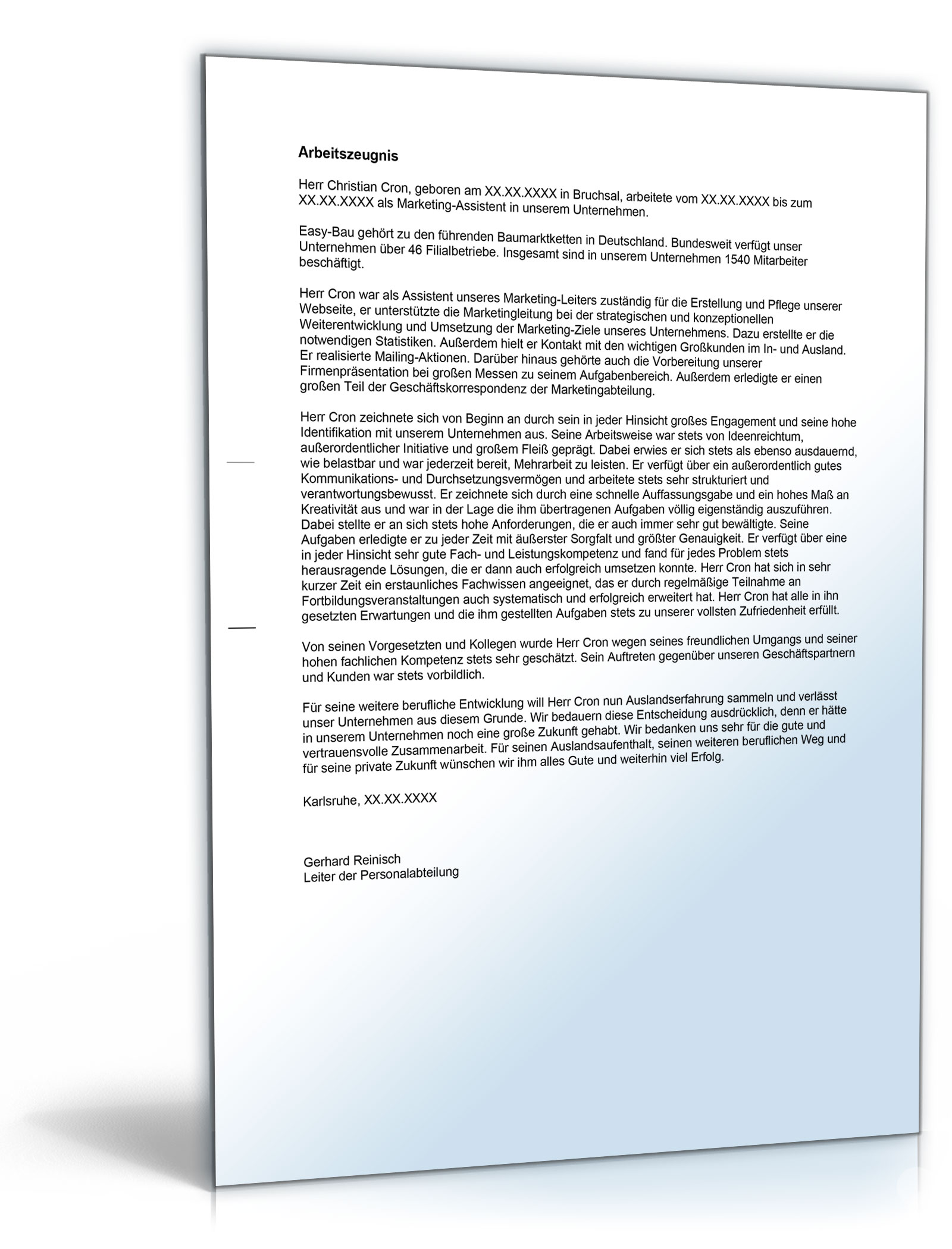 Arbeitszeugnis Marketing Assistent Note Eins Word Dokument Amazon