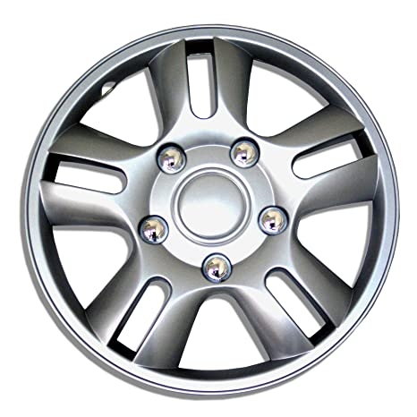 Amazon.com: TuningPros WSC-006S15 Hubcaps Wheel Skin Cover 15-Inches Silver Set of 4: Automotive