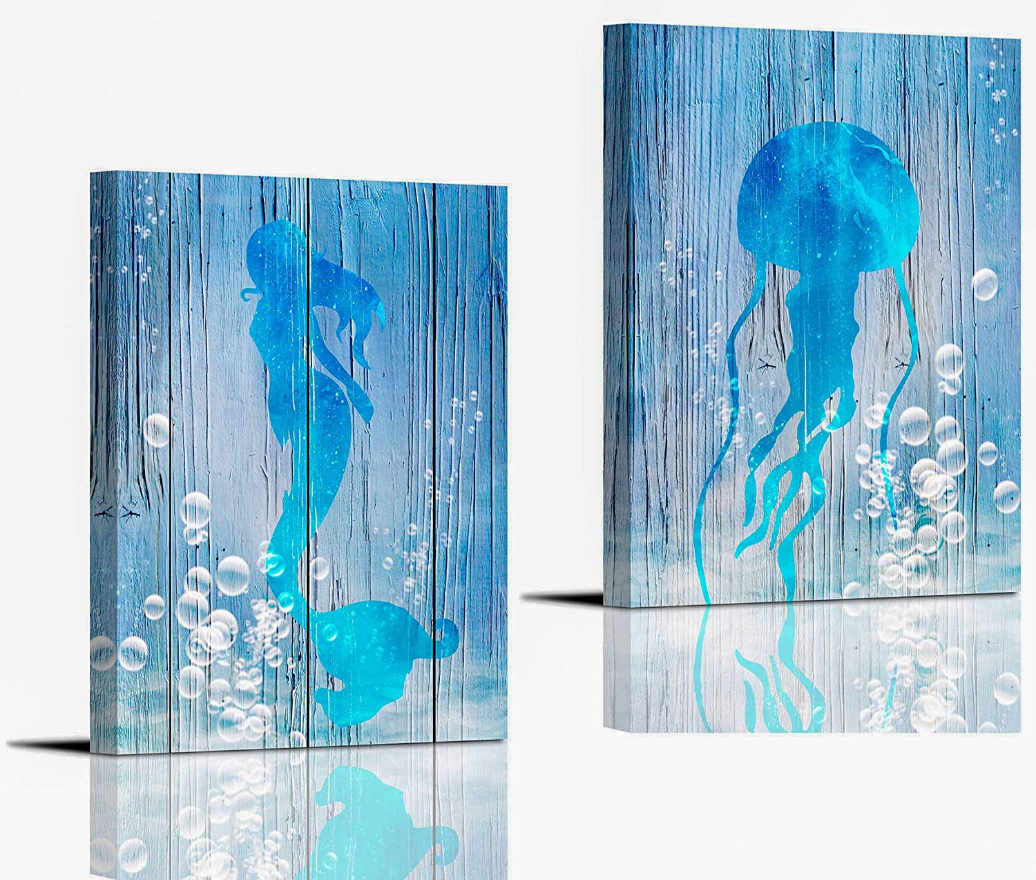 Mermaid and Jellyfish Wall Art for Bedroom Wall Decoration 12×16Inch Set of 2 Panels Dining Room Bathroom Sea Animal in Bubbles Water Wall Decor Framed Blue Sea Canvas Prints Home Decor Artwork