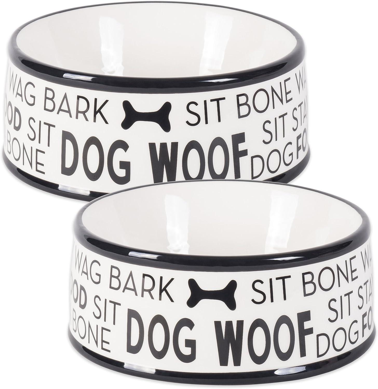 Bone Dry DII Ceramic Medium Pet Bowls for Food & Water, 6.25