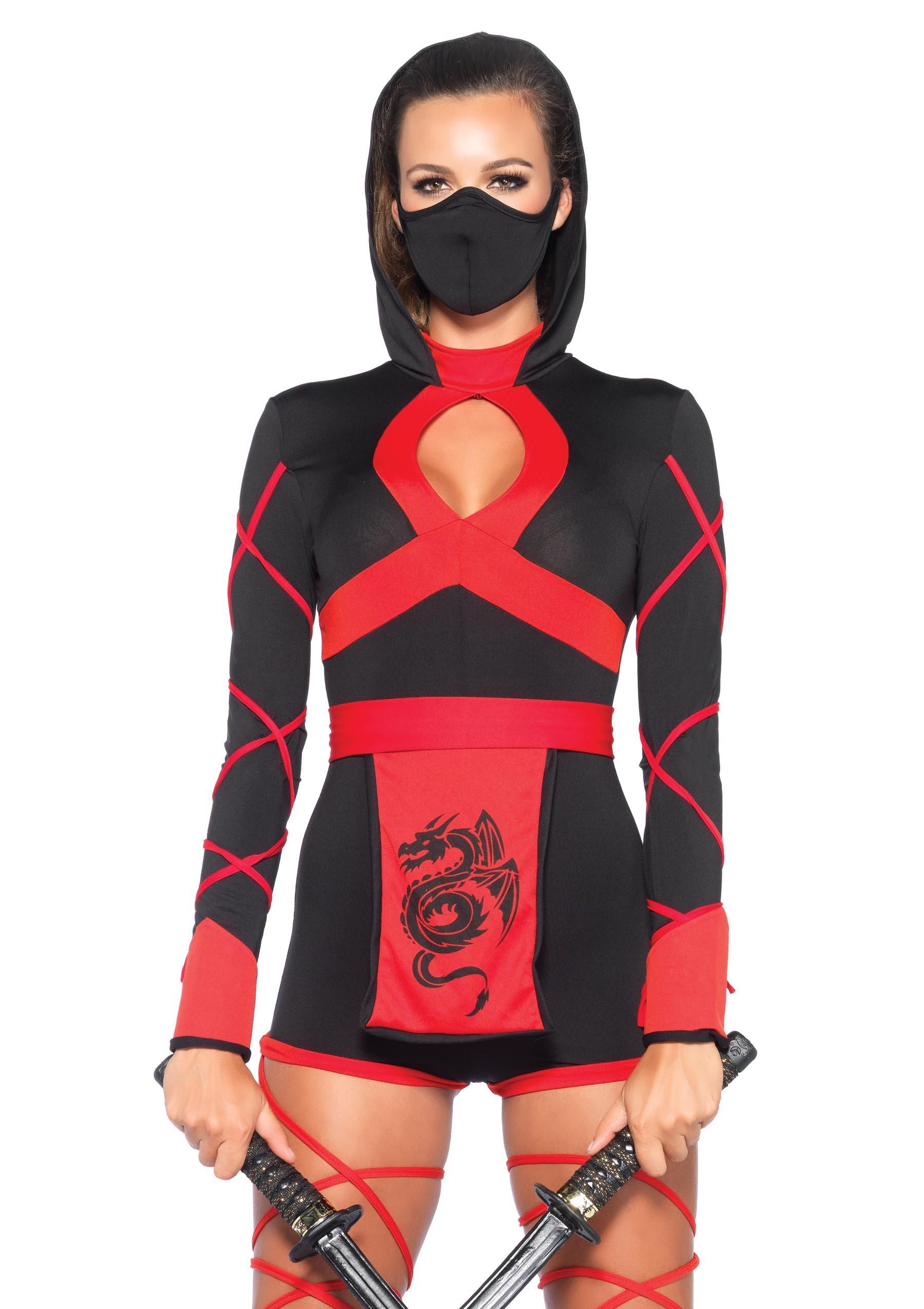 Leg Avenue Women's 3 Piece Dragon Ninja Costume, Black/Red, Medium