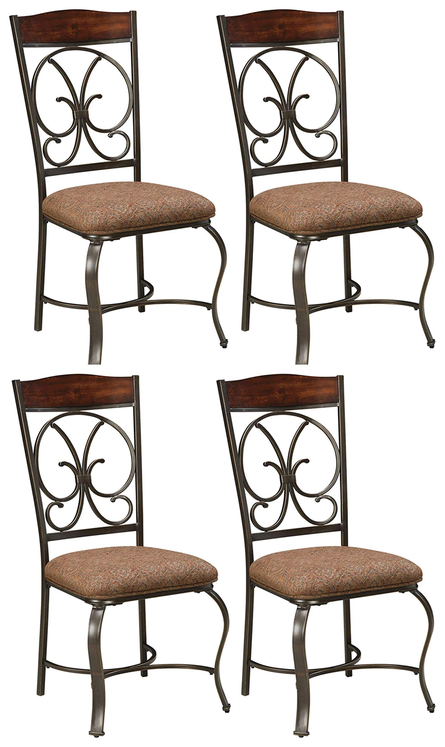 Ashley Furniture Signature Design - Glambrey Dining Room Chair Set - Scrolled Metal Accents - Set of 4 - Brown by Signature Design by Ashley