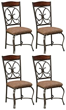 img buy Ashley Furniture Signature Design - Glambrey Dining Room Chair Set - Scrolled Metal Accents - Set of 4 - Brown