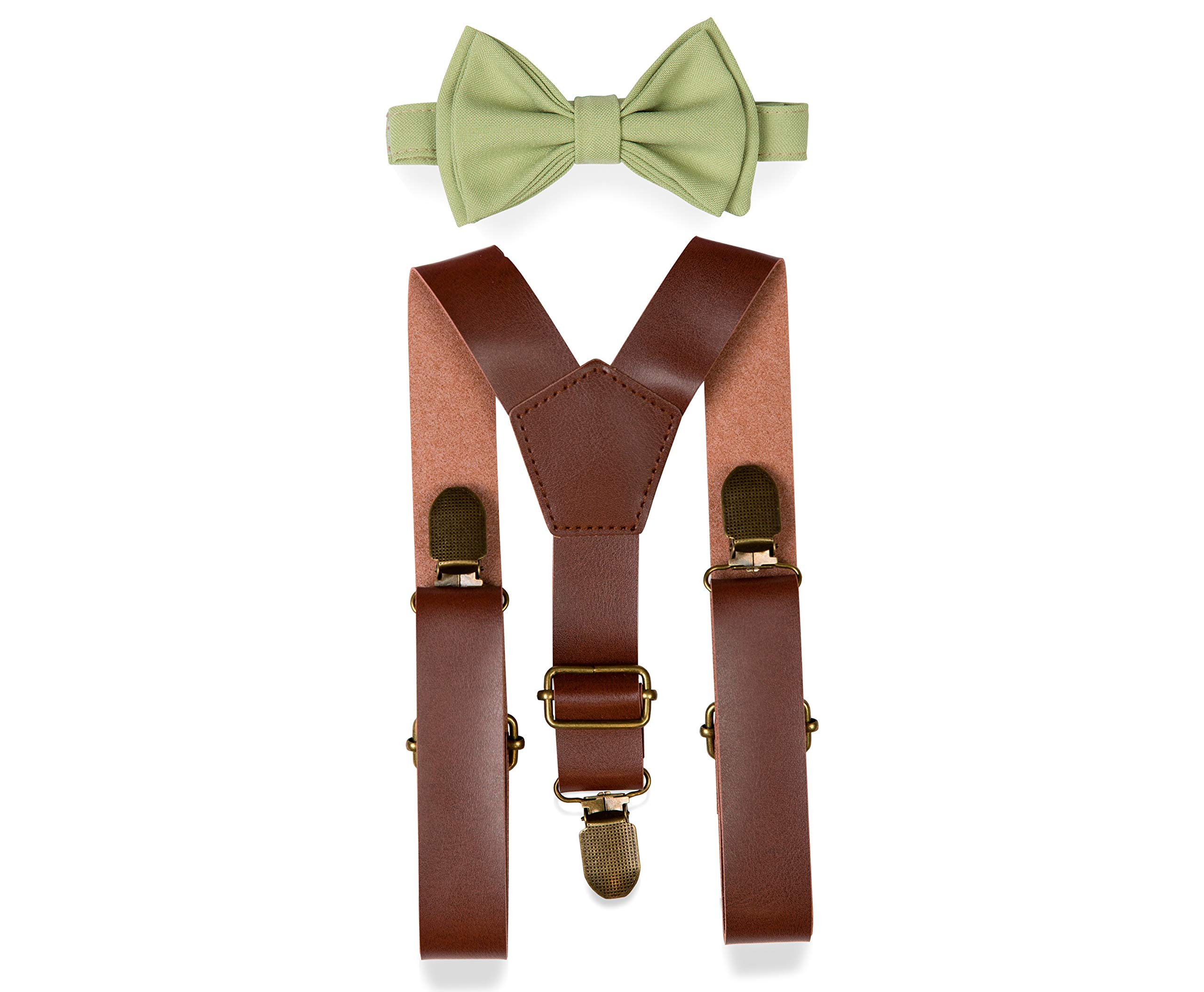 Brown PU Leather Suspenders Bow Tie Combo for Baby Toddler Boy Men (1. Baby (6-18 mo), Brown Leather Suspenders, Sage Bow Tie)