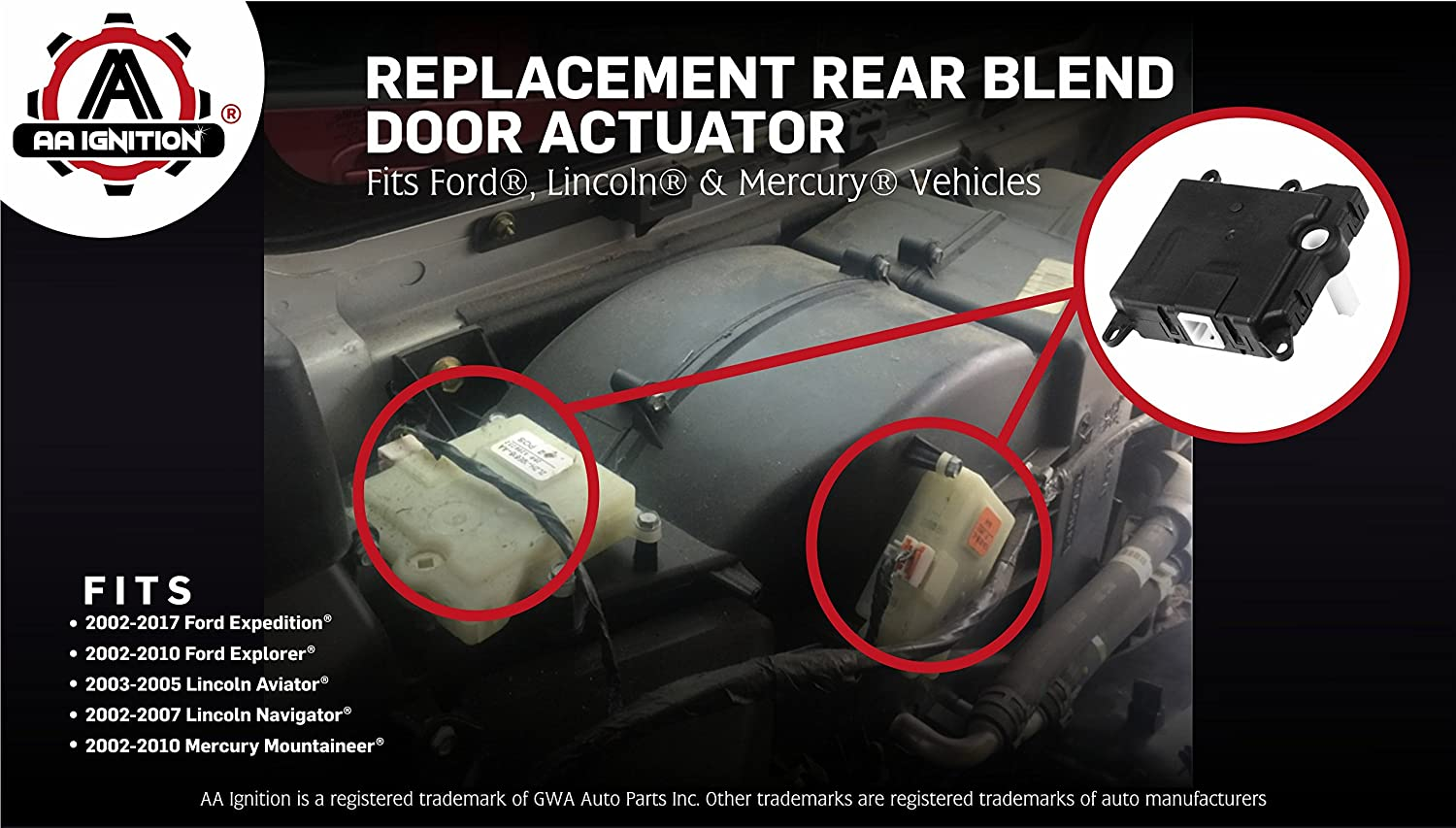 Amazon Com Rear Blend Door Actuator Replaces 604 213 1l2z19e616ba Yh 1743 Compatible With Ford Lincoln Mercury Suvs Expedition Explorer Navigator Aviator Mountaineer Auxilliary Mode Temperature Automotive