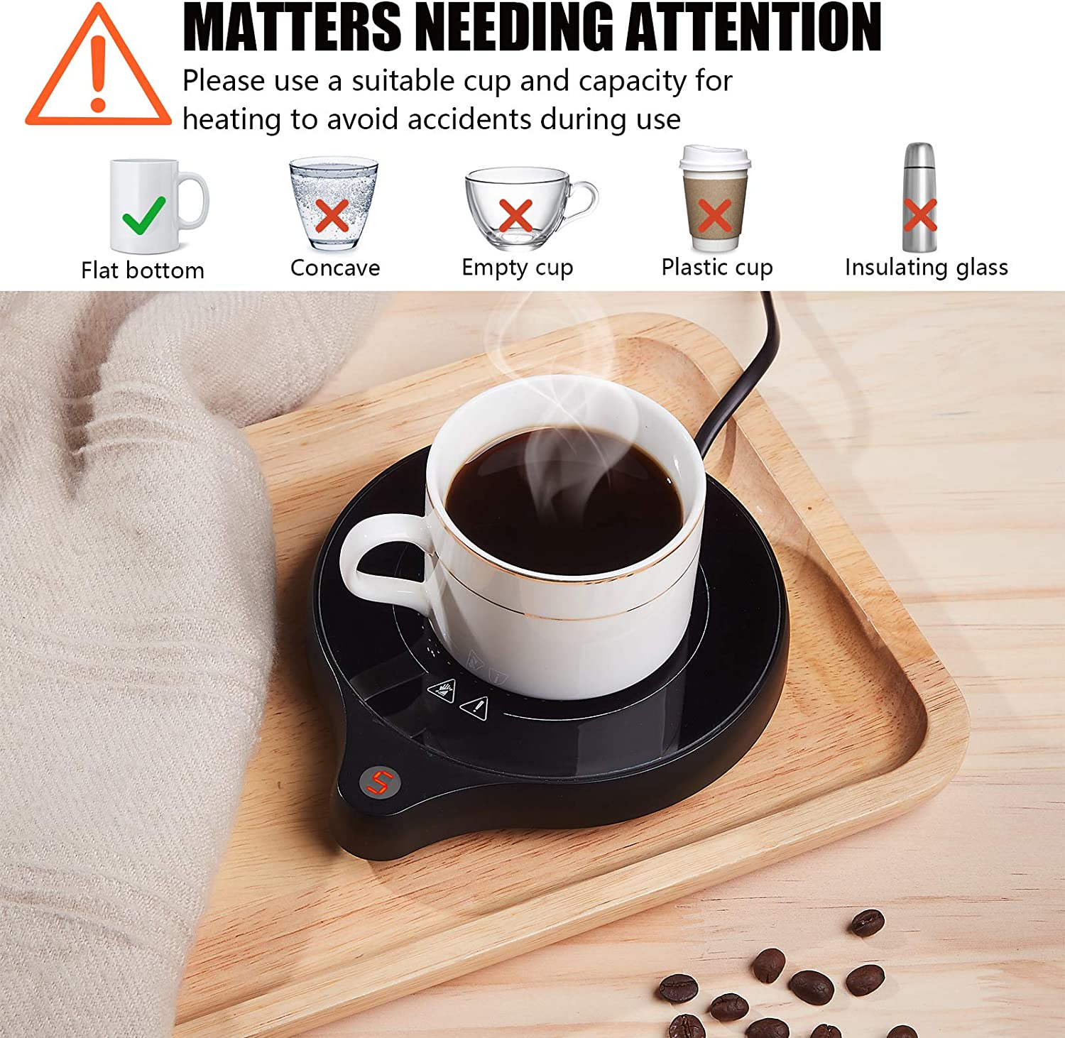 Candle Wax Cup Warmer Heating Plate 2020 New Coffee Mug Warmer and Office Warmer Electric Beverage Warmer with 5 Temperature Settings Up To 176/°F//80/° Auto On//Off Gravity-induction Mug Warmer for Office Desk Use Coffee Warmer for Cocoa Milk Milk