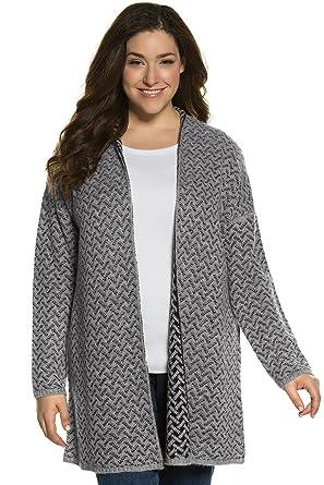 2642f6ec3a3 Ulla Popken Women s Plus Size Zig Zag Jacquard Cardigan Sweater. Light Grey  Multi 28
