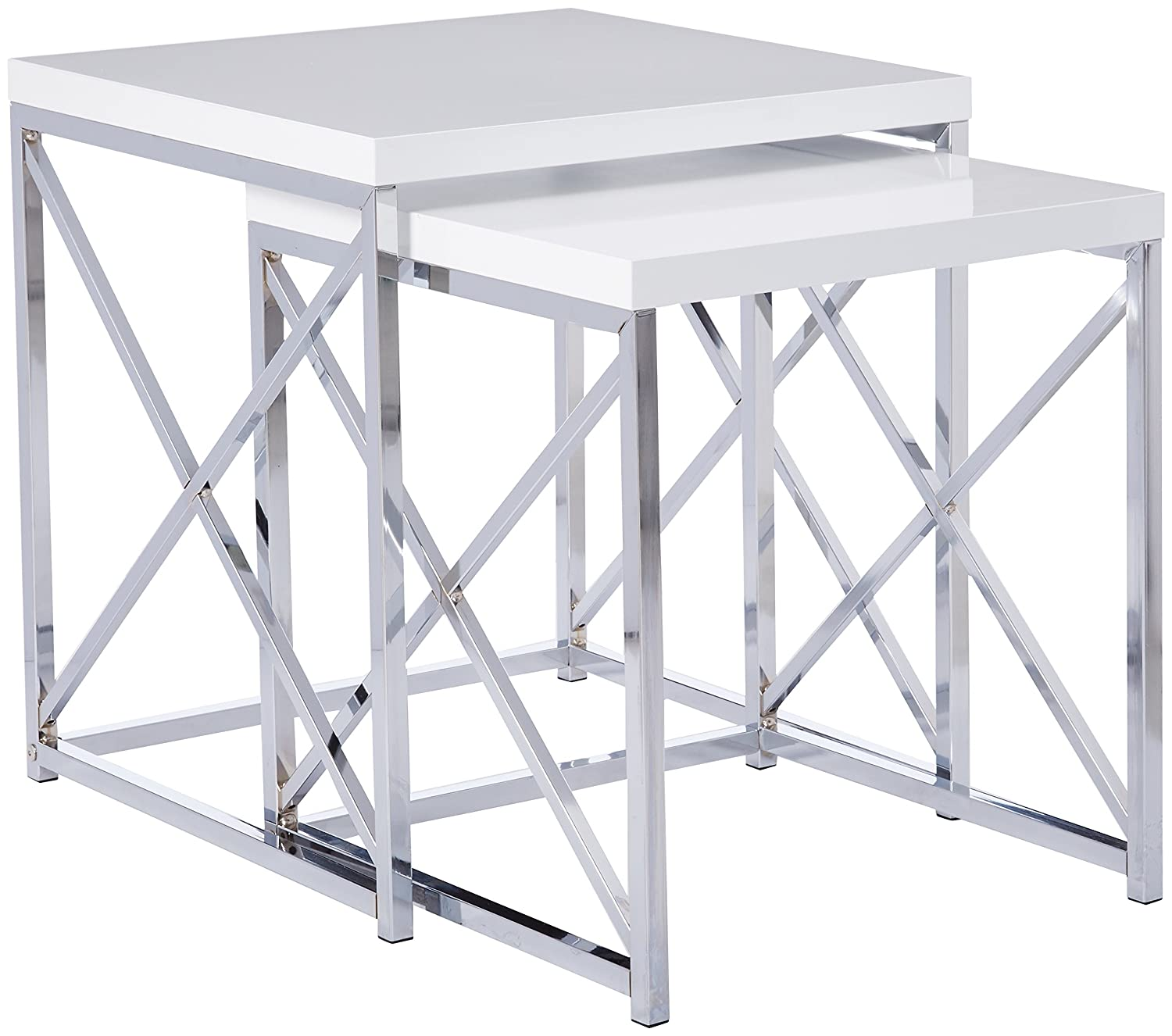 Monarch Specialties Glossy White and Chrome Metal Nesting Table Set ...