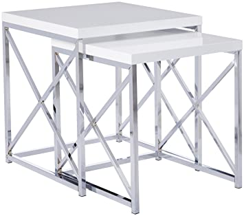 Exceptional Monarch Specialties Glossy White And Chrome Metal Nesting Table Set, 2 Piece