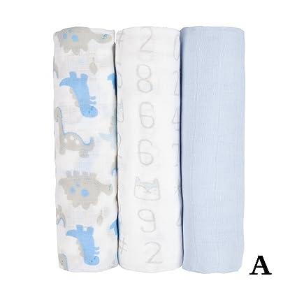 3 Pack – pañuelos cuadrados de muselina de Gasa 80 x 80 cm-100%