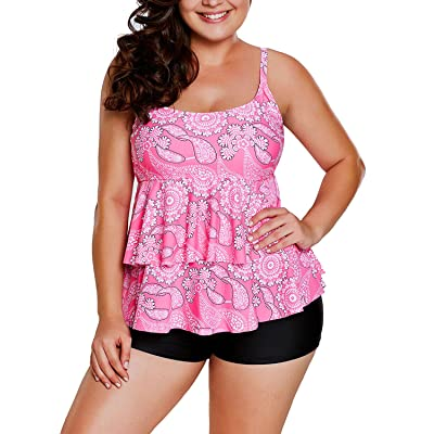 Aleumdr Womens Ruffle Cute Pink Print Tankini Swimsuits with Shorts M - XXXL
