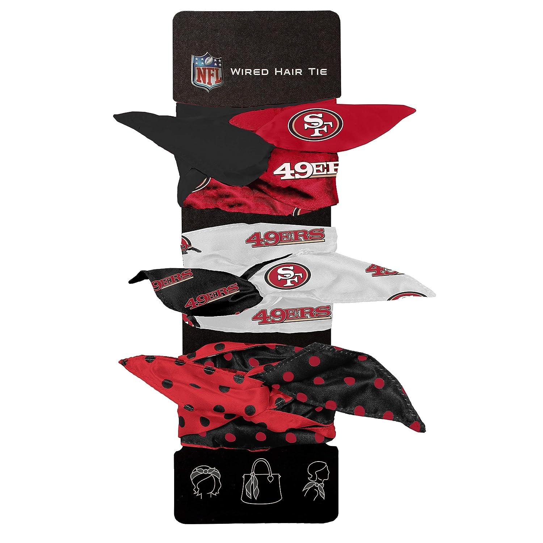 Dark Red Littlearth Womens NFL Wired Hair Tie Set of 3