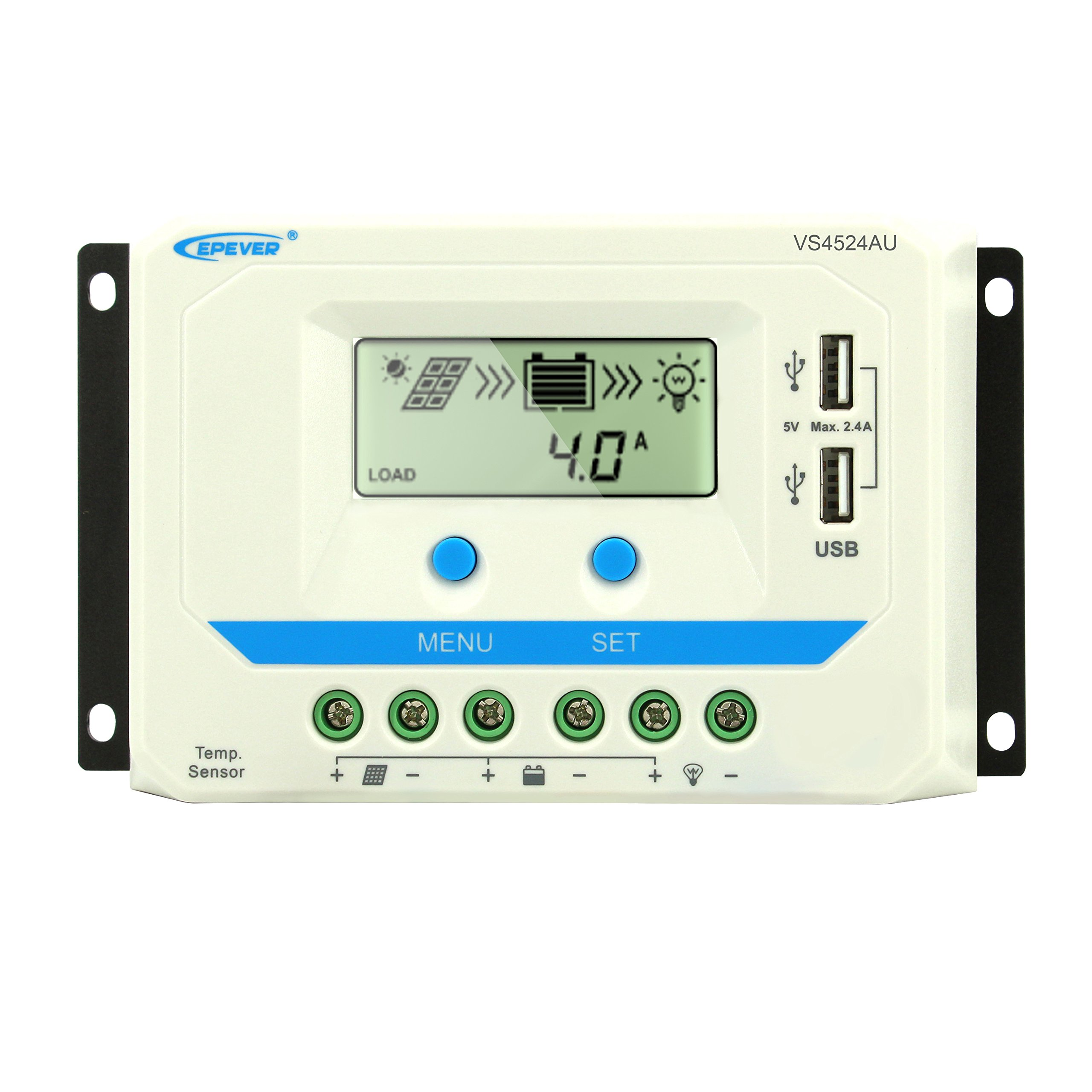 45A Solar Charge Controller 12V/24V Auto, EPEVER 45 amp Solar Panel Battery Charge Regulator with LCD Display Dual USB Output for Lead Acid (AGM Sealed Gel Flooded) Battery by PowMr