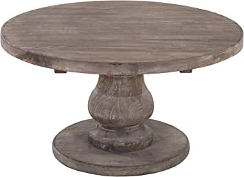 Amazon Com Benjara Wooden Round Coffee Table With Pedestal Base Brown Furniture Decor