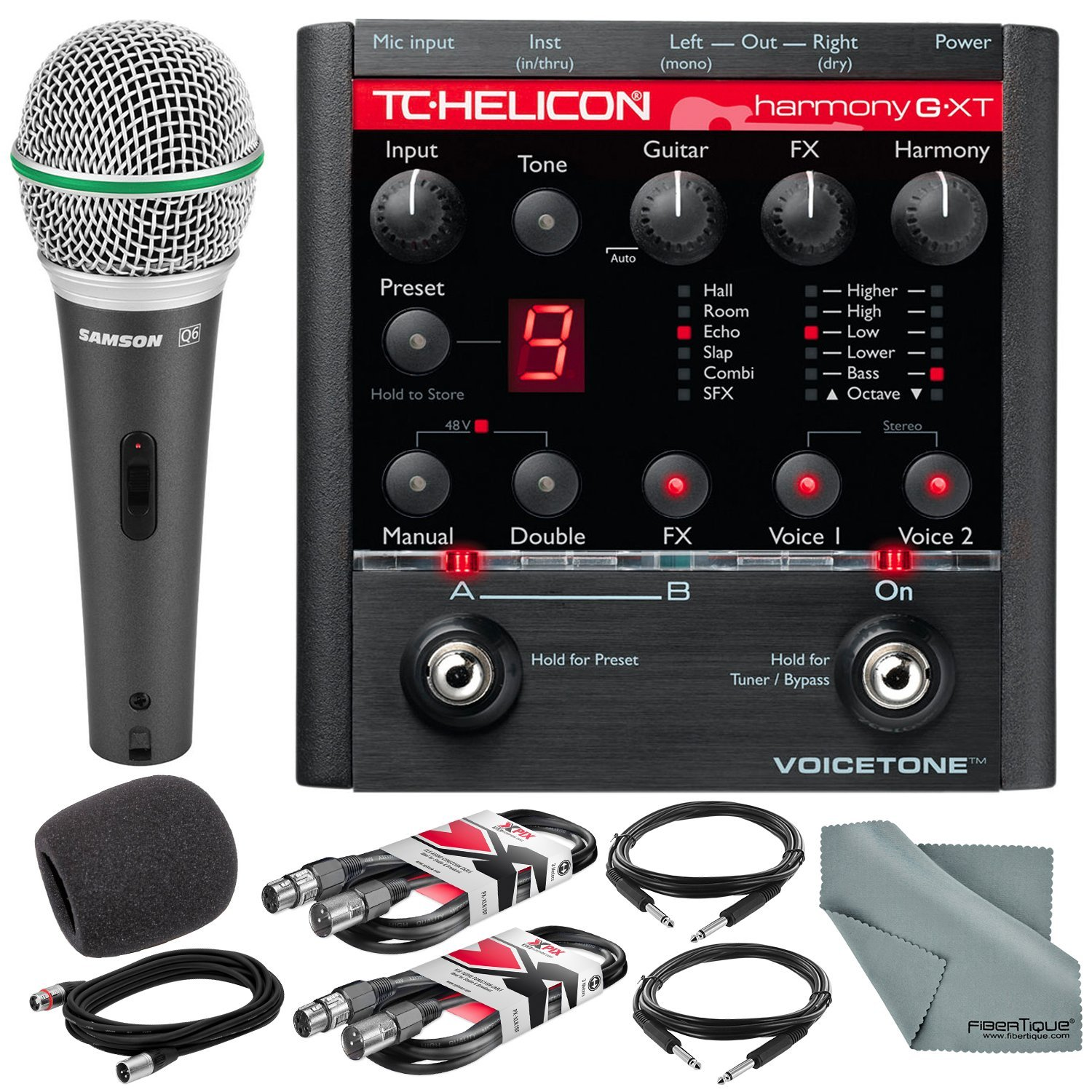 TC-Helicon VoiceTone Harmony-G XT Guitar & Vocal Harmony Pedal and Deluxe Accessory Bundle w/Samson Q6 Mic + Fibertique Cloth + 3X XLR Cable + 2X 1/4'' TRS Cable