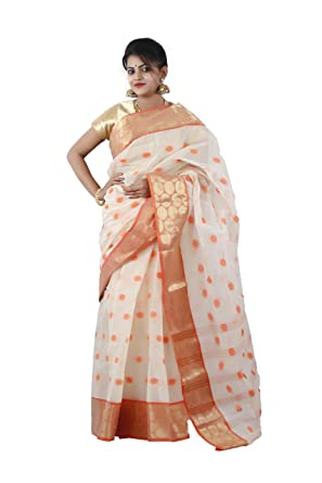 DIPALI ENTERPRISE Tant Made Self Designed Saree For Women s-Off White And  Gold-RB-WS-066-22.2  Amazon.in  Clothing   Accessories 4e9aae482c