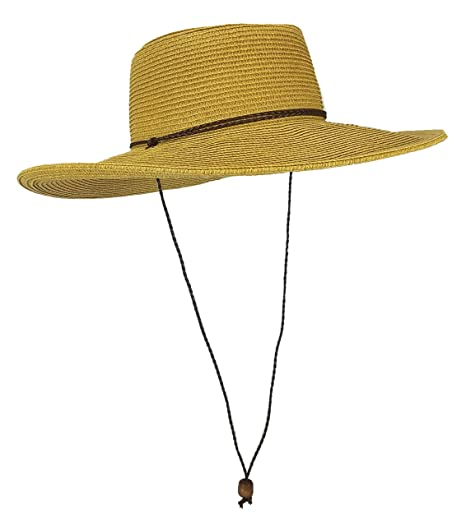 Amazon.com: Straw Gambler Bolero Cowboy Hat, Packable Wide brimmed Cap With Braided Chin Strap (Natural): Home & Kitchen