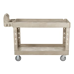 Rubbermaid Commercial Heavy Duty 2-Shelf Utility Cart, Flat Handle, Flat Shelves, Medium, Beige (FG452589BEIG)