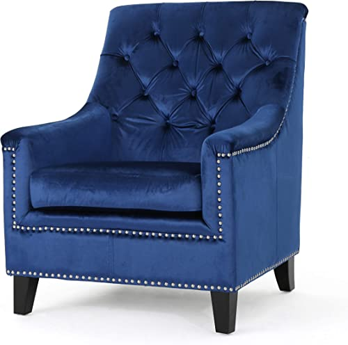 Best living room chair: Jacey Tufted Back New Velvet Club Chair Navy Blue/Natural
