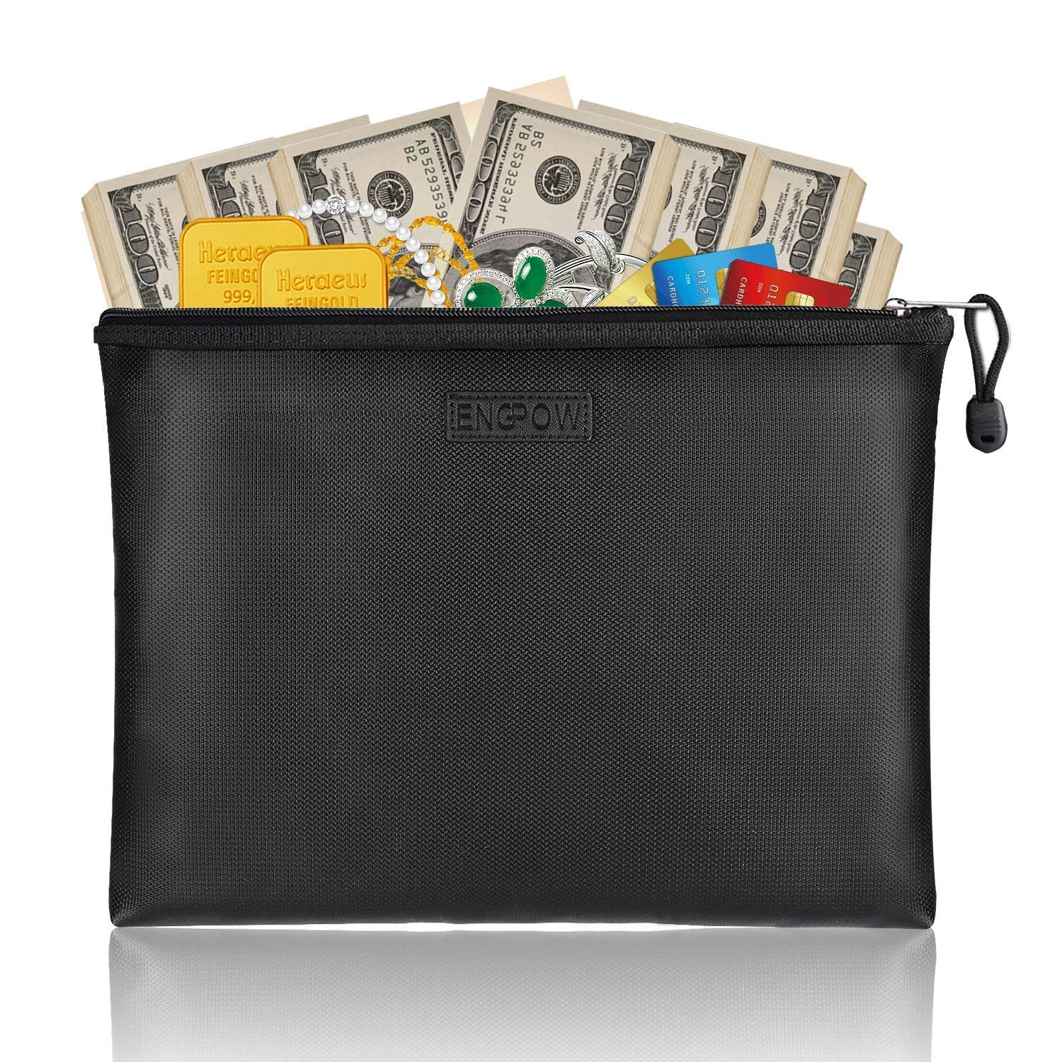 Fireproof Safe File Bags ENGPOW A4 Size Zipper Closure Business Document Organizer Portable Filing Pouch Office Stationery Storage Fire and Water Resistant Money Bag 13.5×9.8×1.4 Black (Large)