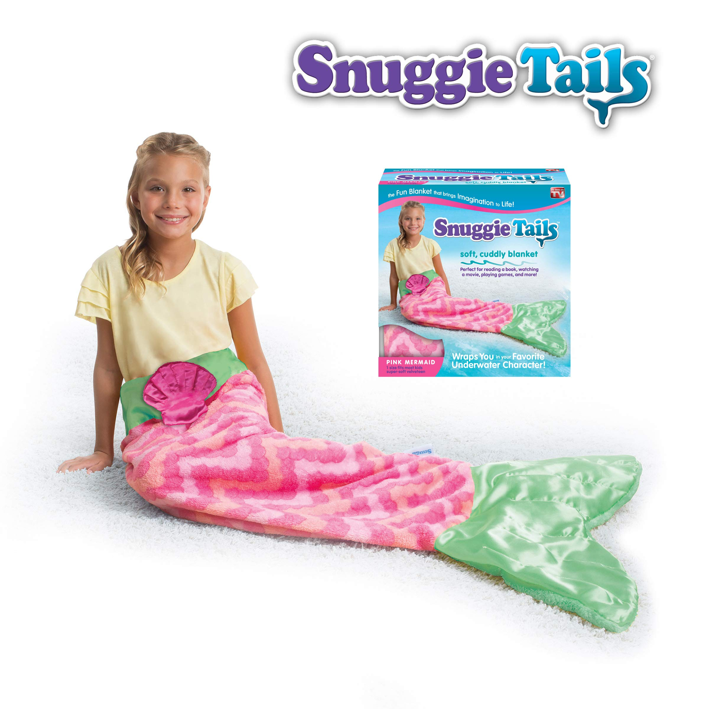 Snuggie Tails Allstar Innovations Mermaid Blanket for Kids (Pink), As Seen on TV