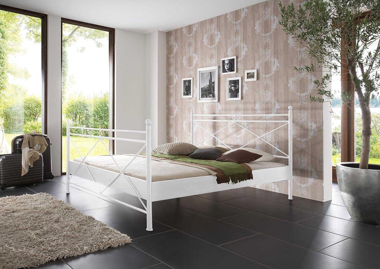 SAM® Metallbett 140x200 cm Ivrea, Bettgestell weiß, Filigrane Verzierungen, Blickfang für Gästezimmer Schlafzimmer