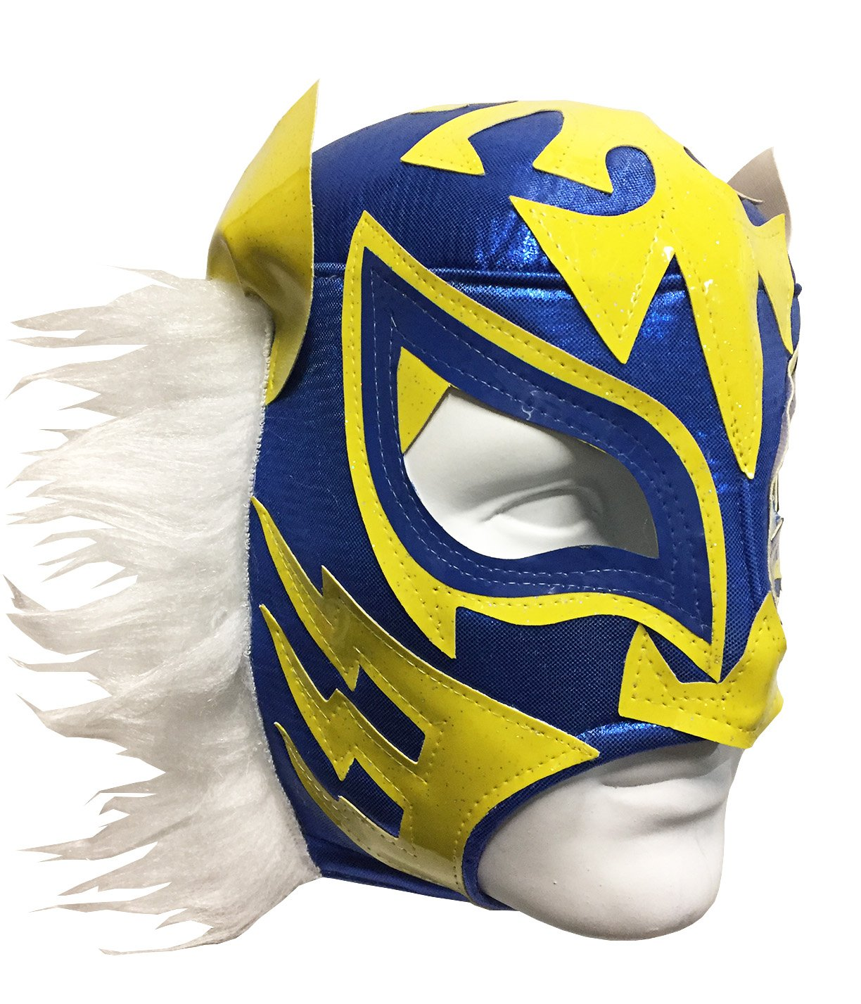 WHITE TIGER Adult Lucha Libre Wrestling Mask (pro-fit) Costume Wear - Blue/Yellow by Mask Maniac